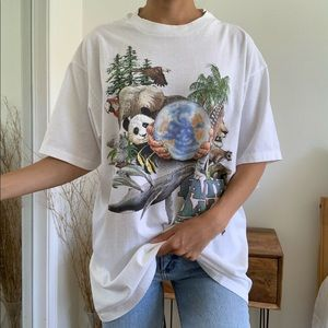 Vintage Earth Day Every Day White Hanes T-Shirt